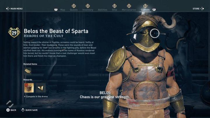 Белос, Спартанский Зверь